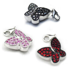 Butterfly Charms Sterling Silver Clip On Charms Cubic Zirconia Carlo Biagi