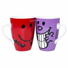 Set of 2 Mr Men Strong Miss Naughty Latte Coffee Tea Mugs Cups Couples Him Her