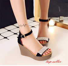 Size Summer women open-toed Platform Rhinestones buckle comfortable wedge shoes