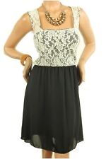 DEALZONE Delightful Two Tone Lace Dress M Medium Women White Casual
