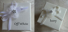 5 silk square wedding favour box with lid plus organza & diamante bow decoration