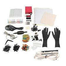 Complete Tattoo Kit Tattoo Power Supply Gun Machines 10 Color Inks Needles Tips