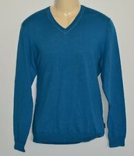 HUGO BOSS SLIM FIT COTTON MODAL SILK SWEATER V-NECK FULL SLEEVES BLUE MEN