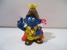 VINTAGE SCHLEICH THE SMURFS ROYAL KING SMURF PVC FIGURE PEYO 1980 HONG KONG