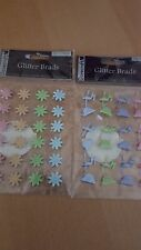 Dovecraft Glitter Brads, Split Pins - 24 Pieces Acid Free Various Colour Packs