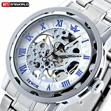 Men Transparent Steampunk Skeleton Mechanical Stainless Steel Wrist Watch New