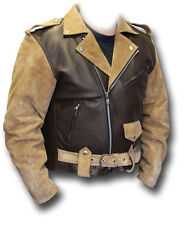 GTH ROUTE 66 SUEDE & LEATHER MOTORCYCLE JACKET, TAN AND BROWN BIKER JKT [72364]