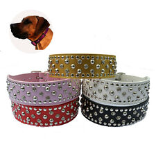 Crystal Studded Dog Collar Large 2'' Wide Leather Collar For Pitbull Dogs PlusSZ