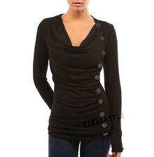 Black Cowl Neck Button Embellished Ruched Sweater Knit Dress Top S M L XL