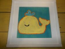Yellow whale { WOOD } Custom framed nursery kids ~  personalize your own colors