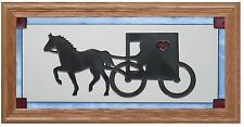 "Silver Creek Amish Horse & Buggy ~ 11.5"" x 22.5"" Art Glass Panel / Suncatcher"
