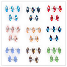 10Pcs 10x20mm Teardrop Charms Faceted Pendant Glass Crystal Loose Beads 40 Color