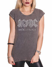 AC/DC T Shirt Womens Back In Black Official New Acid Wash Skinny Fit
