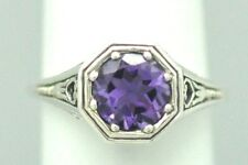 AMETHYST Ring 925 Sterling Silver ANTIQUE STYLE silver