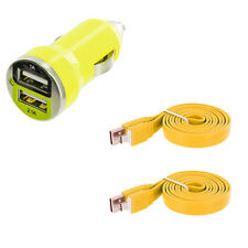 Yellow Dual 2 Port USB Car Charger 2.1+1 Amp + 2X Flat Cable For Cell Phones