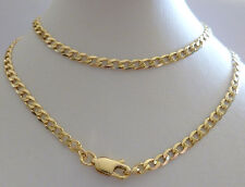 9ct 9k Solid Yellow Gold Flat Curb Chain, 3.9mm Wide, N118 CUSTOM