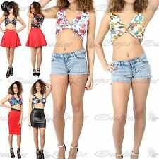 Women ladies Floral Wrap V Neck Twisted Sleeveless Tee Vest Cross Crop Top