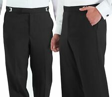 New Mens Black 100% Wool Tuxedo Pants Flat Front Formal Wedding Trousers
