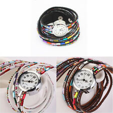 Vintage Rhinestone Leather Bracelet Watch Woman Retro Quartz Wrist Watch Bangle