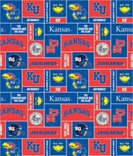 UNIVERSITY OF KANSAS JAYHAWKS FLEECE FABRIC SOLD BY THE 1/2 YARD