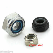 2-25Pcs M2-M20 Black/White Zinc Nylon Insert Lock Nuts (Nyloc) Hex Lock Nut HOT