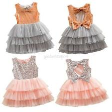Princess Girl Kids Baby Sequined Bow Pageant Party Wedding Tulle Tutu Cake Dress