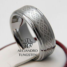 Tungsten Ring Men's Wedding Comfort Band 8MM Classic Celtic Design Size 6 to 14