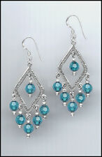 Stylish Silver Earrings made with Swarovski TEAL BLUE ZIRCON Crystals
