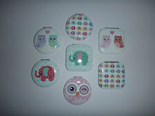 COMPACT MIRROR  -  HANDBAG PURSE MAKE UP MIRROR - OWL / ELEPHANT