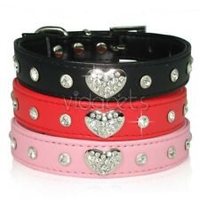 "8-17"" Black Red Pink  Leather Rhinestone Heart Dog Collar Small Medium S M"