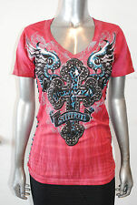 """NWT SINFUL BY AFFLICTION """"FELINE"""" short sleeve red v-neck tshirt sizes:s - m - l"""