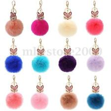 Cute Fox Fur Rhinestone Key Chain Pearl Ball Pom Poms Car Ring Pendant Bag Charm