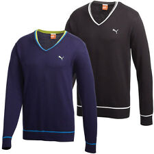 Puma Golf AW13 Mens Solid Cotton V Neck Golf Sweater Pullover Jumper Top