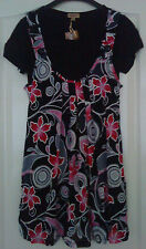 Womens Black & Pink Pinafore Style Top Size M & L BNWT