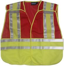 NEW ERB RED Safety Vests 3 pockets with Lime/Silver Reflective Stripes