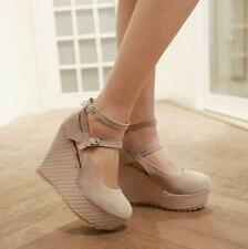 Womens ankle strap sandals round toe high wedge heel platform pumps shoes