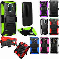 For LG Stylo 2 PLUS Hard COMBO Belt Clip Holster Case Phone Cover Kickstand