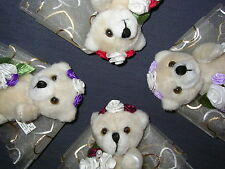 Bridesmaid wedding teddy bear gift favour in Red, Burgundy, Purple and Lilac