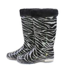 NEW Black White Zebra Animal Print Rubber Fur Trim Rain Snow Boots 6 7 8 9 10 11