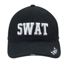 Rothco 9722 Deluxe Black Low Profile Cap - Swat - Raised Embroidery