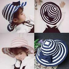 Cute Kids Baby Girl Summer Sun Cap Striped Boknot Bucket Hat Beach Visor Cap Hat