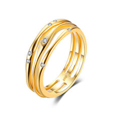 JewelryPalace Anniversary Band Ring CZ Solid 925 Sterling Silver 18k Gold Plated