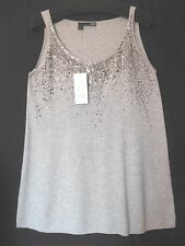 $178 BNWT EILEEN FISHER Organic Cotton Cashmere wSequins DARK PEARL Tunic Top L