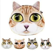 Women Cat Face Print Wallet Coin Purse Handbag Small Coin Pouch Bag Case B8M2