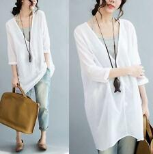 Tops summer womens Ladies Loose Cotton Long Shirt Blouse Linen Dress breath