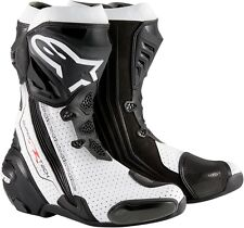 Alpinestars Supertech R Road Race Track Motorcycle Boots-Euro Sizes-Black/White