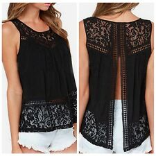 Summer Women Black Crochet Knit Lace Backless Vest Splic Tank T-shirt Blouse Top