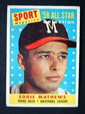 1958 Topps Eddie Mathews Milwaukee Braves #480 Baseball Card