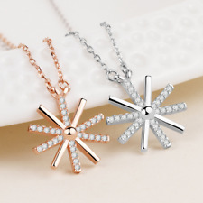 """18"""" Sterling Silver Sunflower Micro Pave Zirconia Pendant Necklace Gift Box A8"""