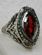 Marquise *Red Garnet* Solid Sterling Silver Victorian Filigree Ring Size Any/MTO